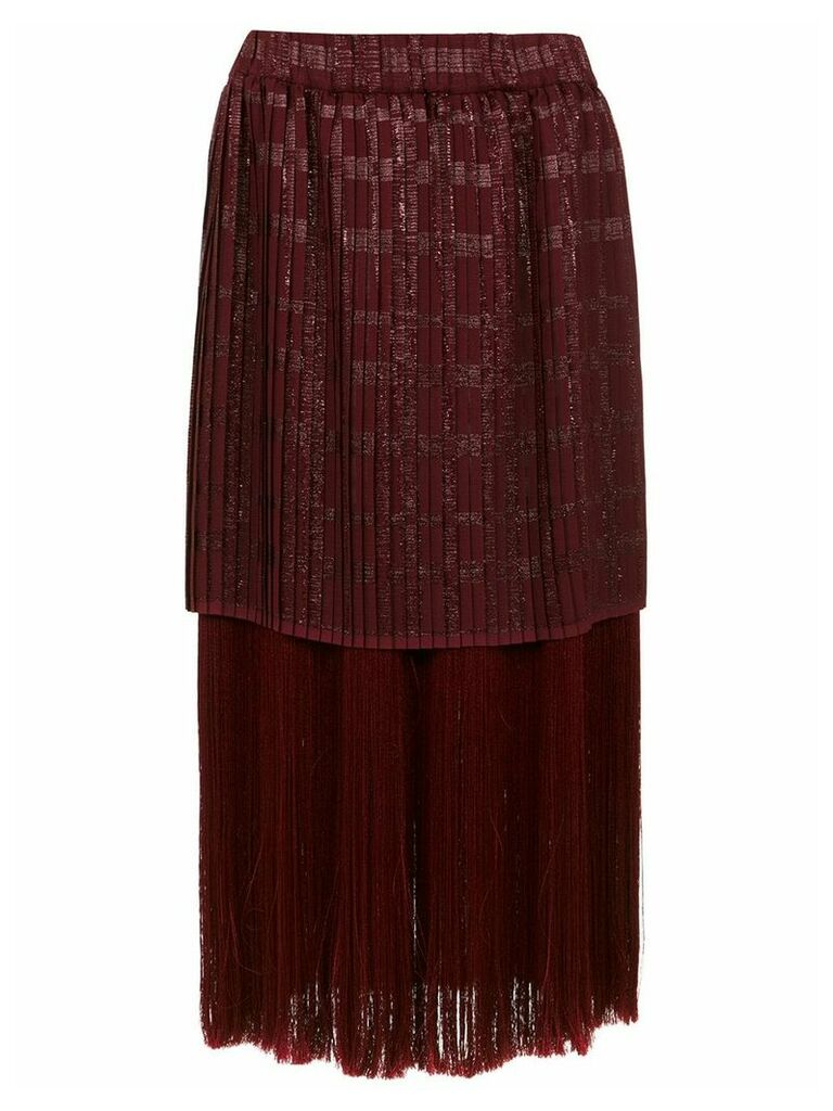 À La Garçonne fringed midi skirt - Red