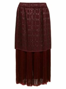 À La Garçonne fringed midi skirt - Red