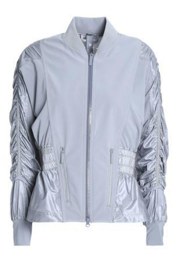 Adidas By Stella Mccartney Woman Ruched Paneled Shell Jacket Gray Size XXS