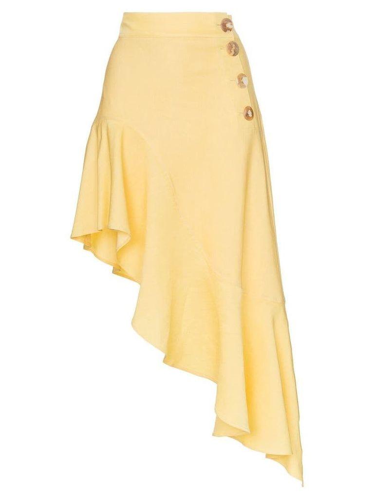 Rejina Pyo high waist asymmetric ruffle skirt - Yellow