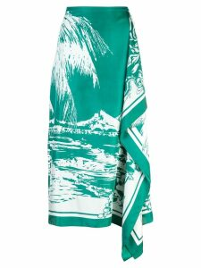 Tibi silk asymmetric printed skirt - Green