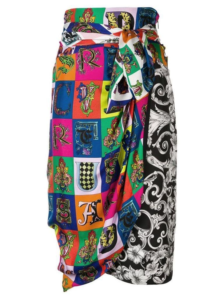 Versace printed wrap skirt - White