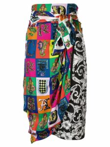 Versace printed wrap skirt - White