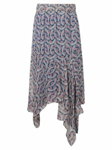 Isabel Marant Étoile sheer printed asymmetric midi skirt - Blue