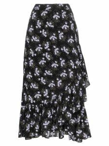 byTiMo Sky floral print ruffle wrap skirt - Black