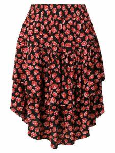 Ganni Lindale crepe floral-print skirt - Black