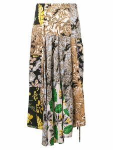 3.1 Phillip Lim Patchwork-Print A-Line Skirt - Black