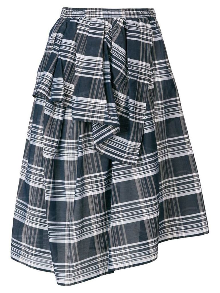 Christian Wijnants checked wrap-style skirt - Blue