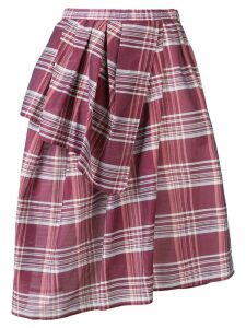 Christian Wijnants checked wrap-style skirt - Red