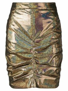 MSGM holographic ruched skirt - Gold