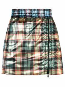 Nº21 Shiny mini skirt with zip - Green