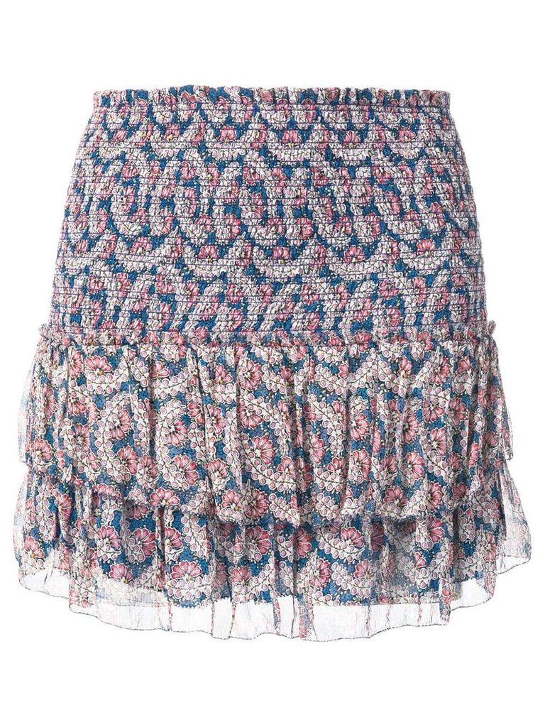 Isabel Marant Étoile Brinley smocked floral-print skirt - Blue