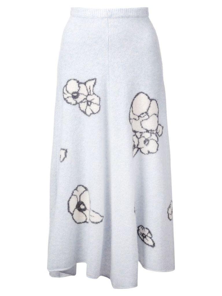 Adam Lippes intarsia-knit skirt - Blue