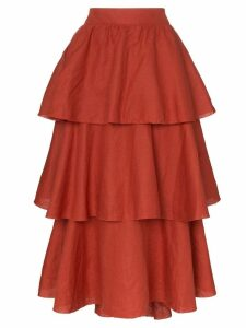 Johanna Ortiz exotic destination tiered linen skirt - Orange