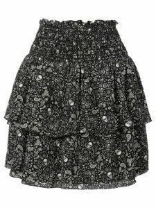 Saint Laurent printed ruffle trim mini skirt - Black