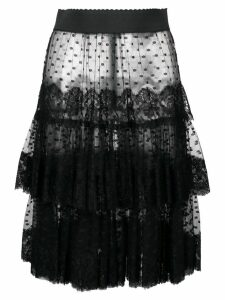 Dolce & Gabbana sheer frilled skirt - Black
