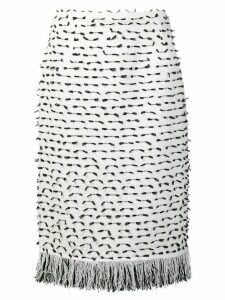 Oscar de la Renta fringed ribbon tweed skirt - White