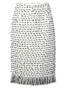 Oscar de la Renta fringed ribbon tweed skirt - White