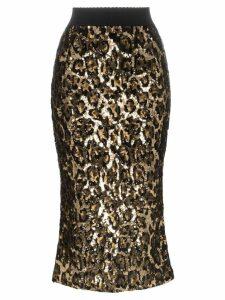 Dolce & Gabbana leopard print sequin embellished midi skirt - Metallic
