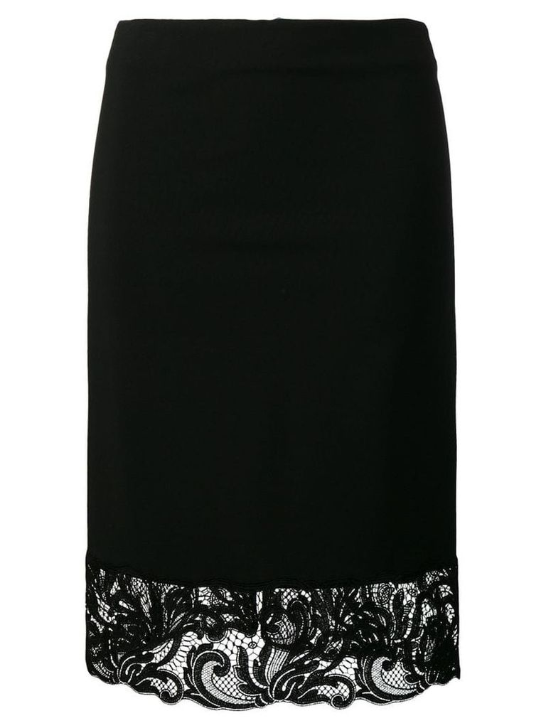 Versace lace trim pencil skirt - Black