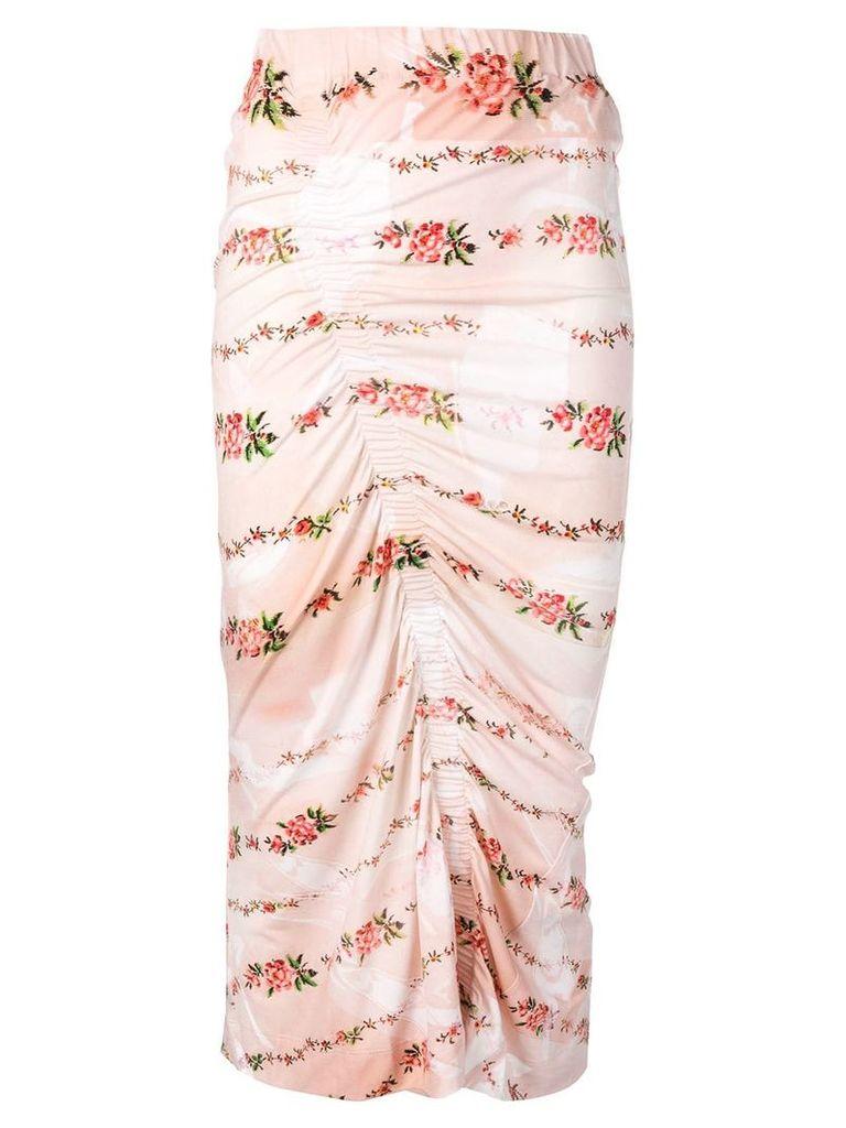 Preen By Thornton Bregazzi floral print ruched pencil skirt - Neutrals