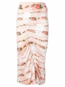 Preen By Thornton Bregazzi floral print ruched pencil skirt - NEUTRALS