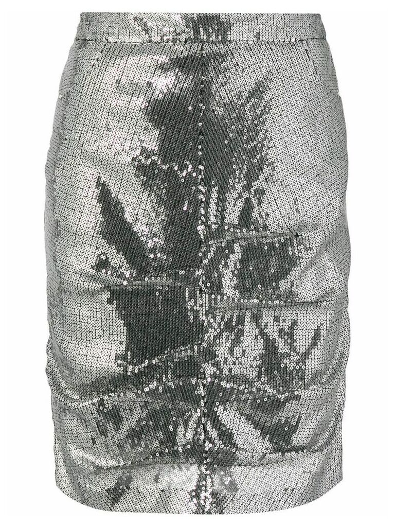 MSGM sequin pencil skirt - Silver