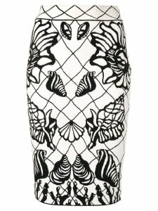 Alexander McQueen Sea Shell print pencil skirt - White