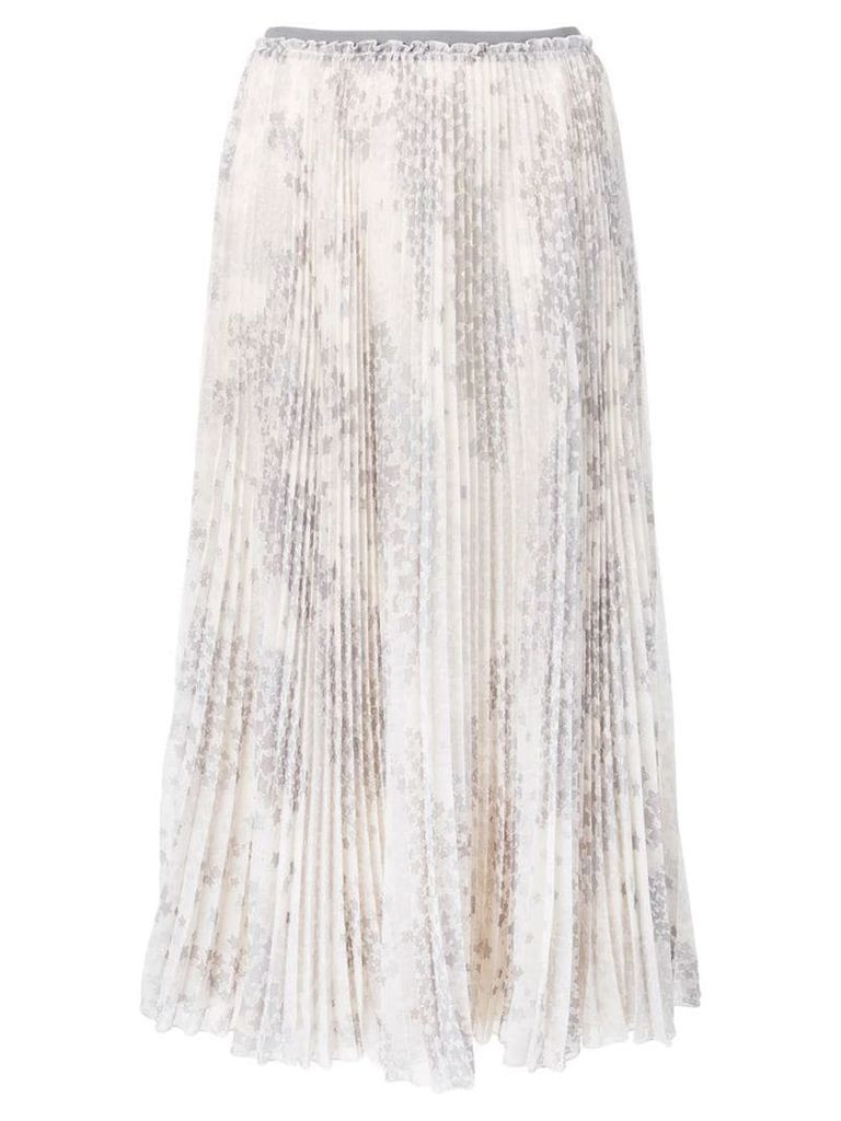 Red Valentino floral print pleated skirt - Grey