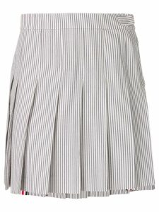 Thom Browne Seersucker Mini Pleated Skirt - Grey