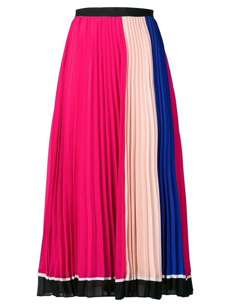 Self-Portrait colour block pleated skirt - Pink