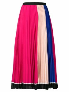 Self-Portrait colour block pleated skirt - Pink