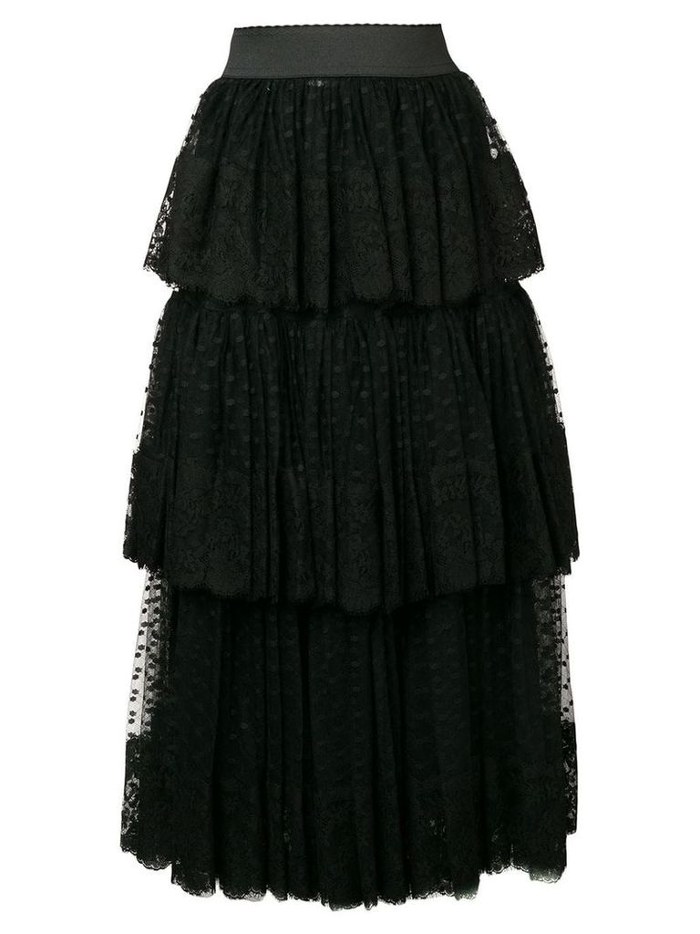 Dolce & Gabbana pleated layered tulle skirt - Black