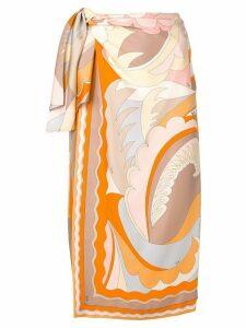 Emilio Pucci Acapulco Silk-twill Wrap Skirt - ORANGE