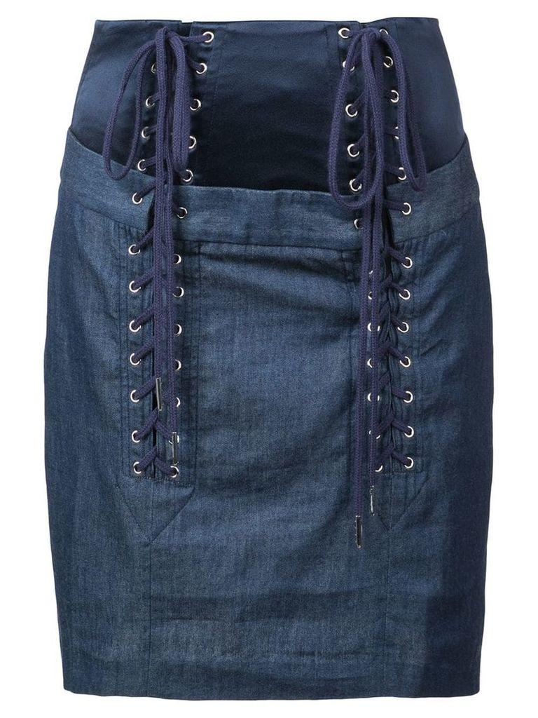 Fleur Du Mal lace up skirt - Blue