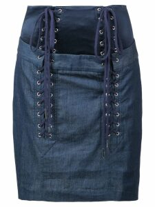 Fleur Du Mal lace up skirt - Blue