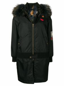 Mr & Mrs Italy fur trim hood park - Black