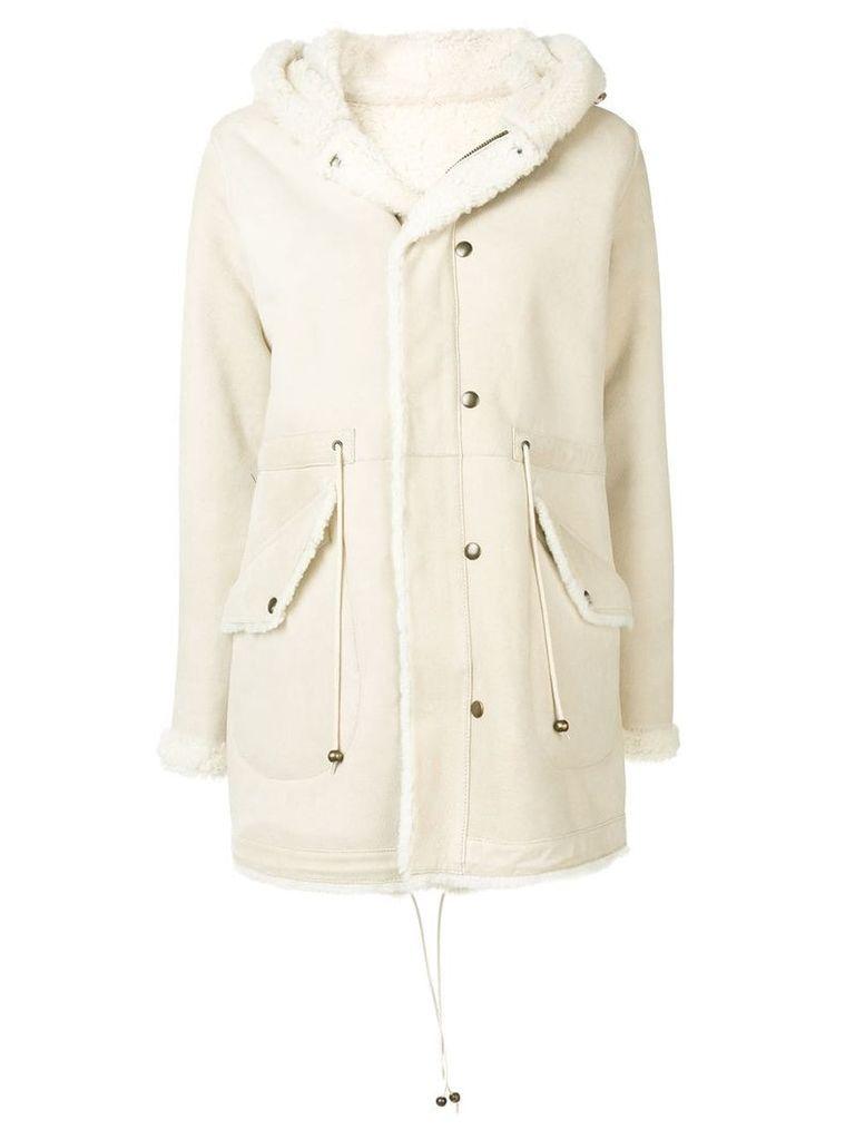 Mr & Mrs Italy fur-trim hooded coat - Neutrals