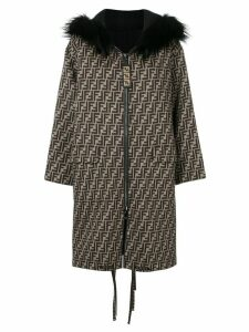 Fendi FF logo parka coat - Neutrals