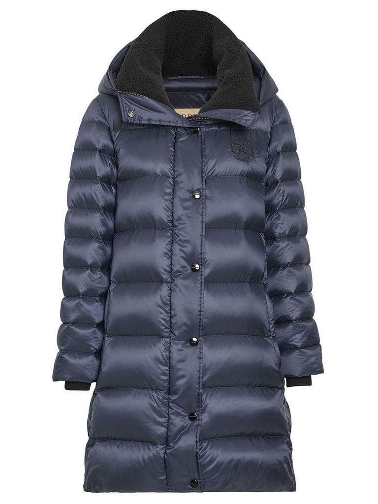 Burberry Down-filled Hooded Puffer Coat - Blue
