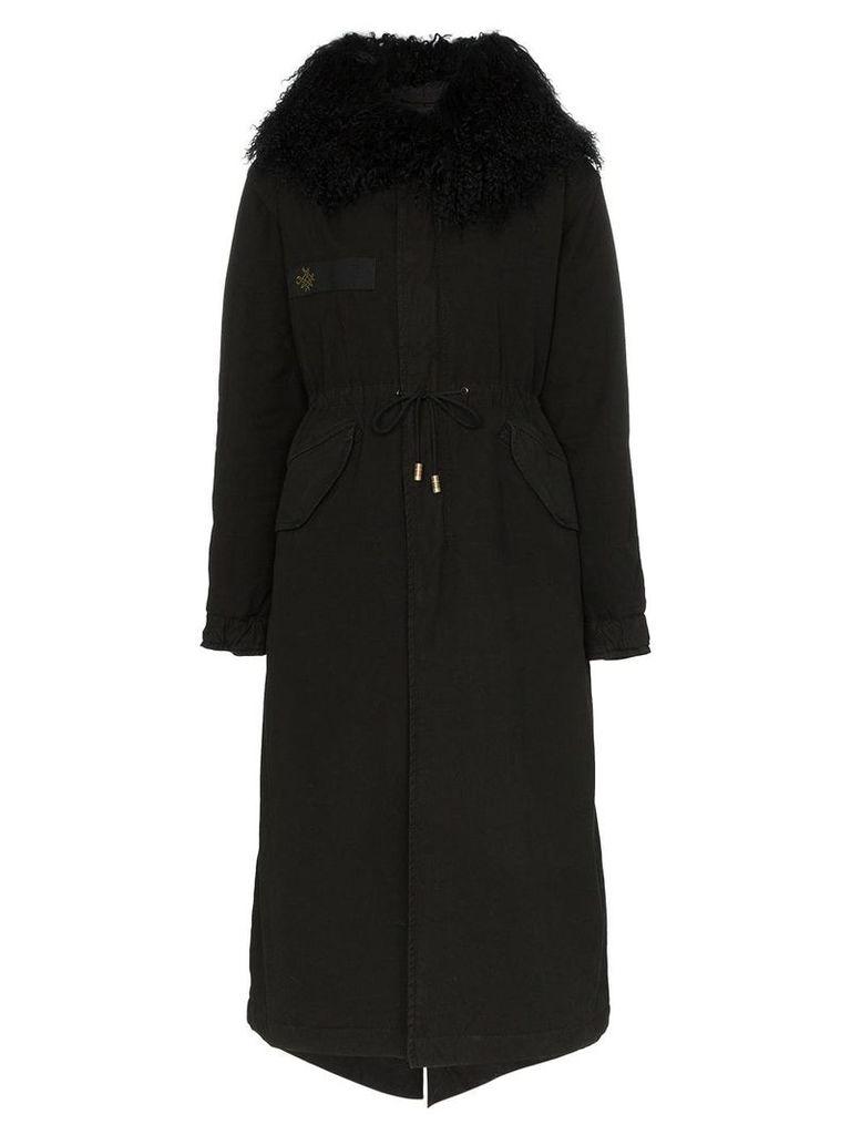 Mr & Mrs Italy hooded shearling parka coat - Black