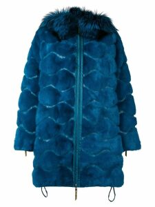 Liska wavy paneled parka coat - Blue