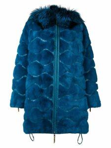 Liska wavy paneled parka coat - Blue