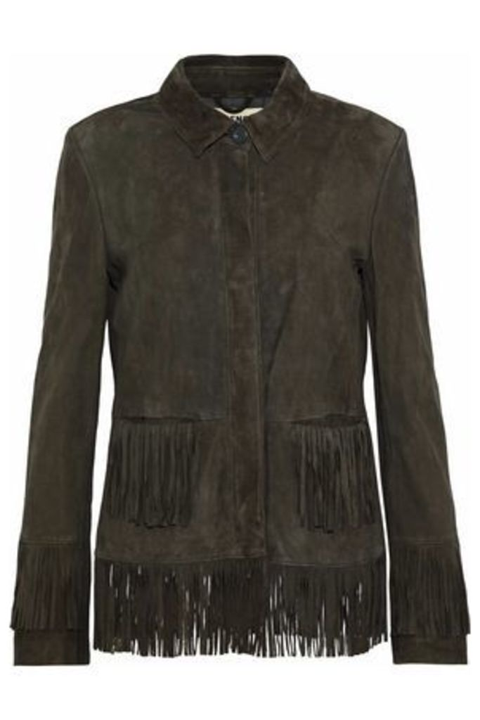 L'agence Woman Maybury Fringed Suede Jacket Army Green Size M