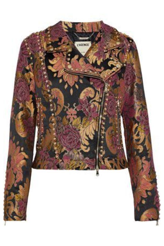 L'agence Woman Shoshanna Studded Brocade Biker Jacket Black Size XS