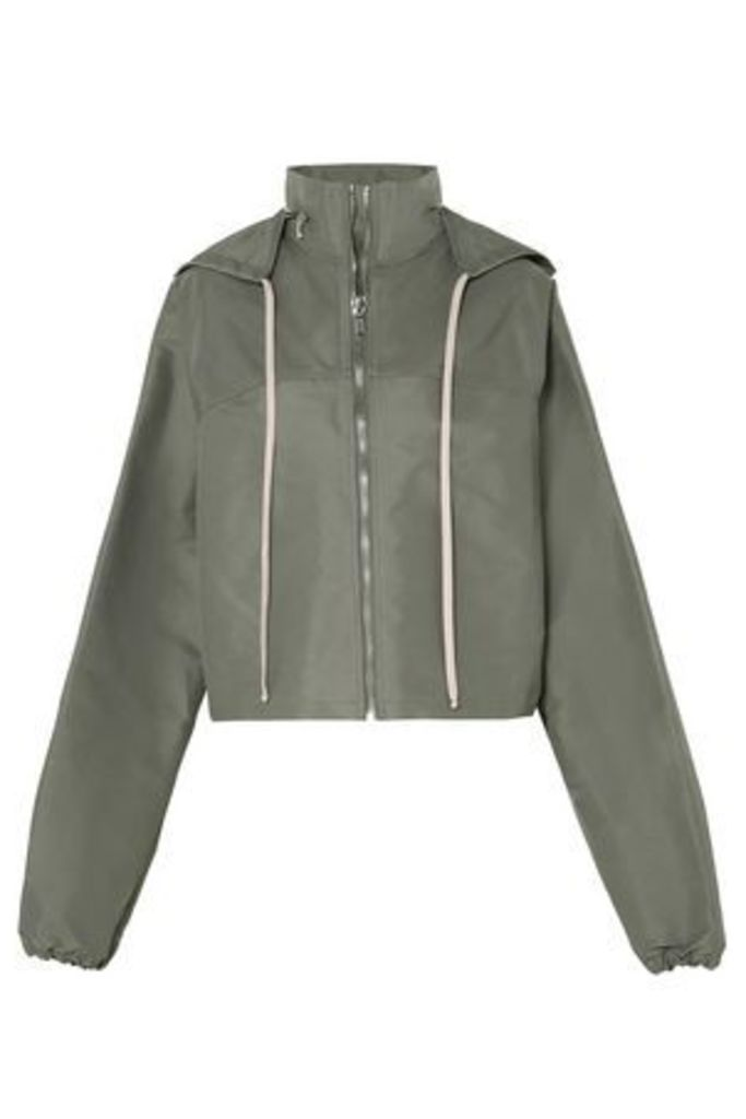 Rick Owens Woman Cropped Shell Hooded Jacket Grey Green Size 48