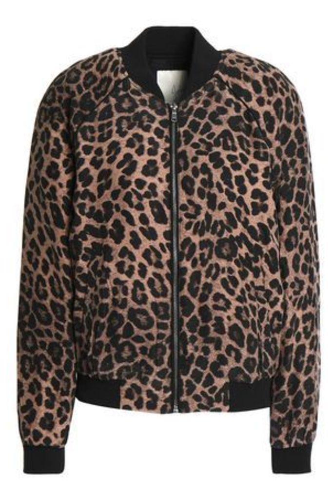 Joie Woman Printed Silk Bomber Jacket Animal Print Size XS