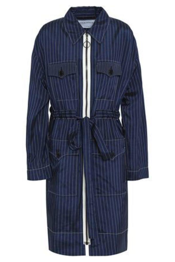 Sonia Rykiel Woman Pinstriped Twill Jacket Indigo Size 38