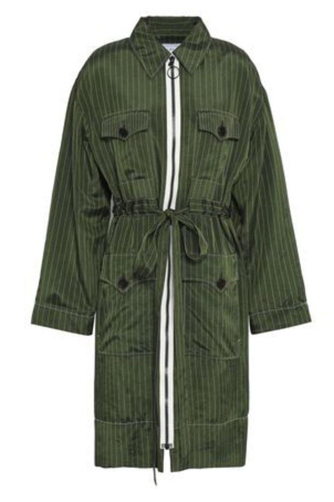 Sonia Rykiel Woman Pinstriped Twill Jacket Leaf Green Size 40
