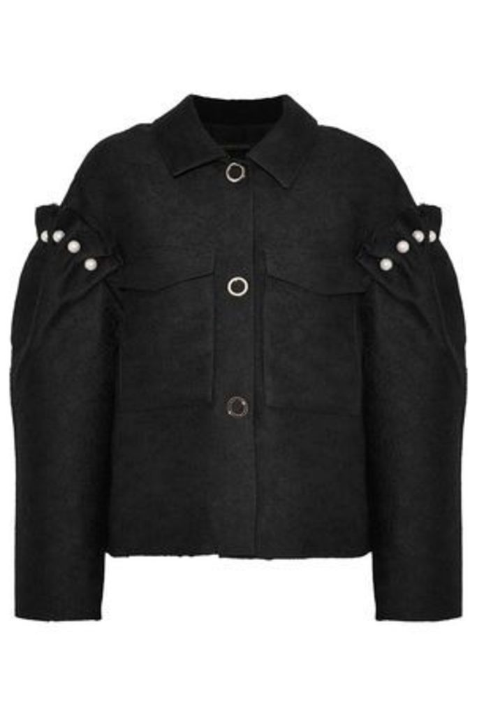Mother Of Pearl Woman Faux-pearl-embellished Jacquard Jacket Black Size S